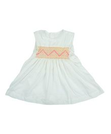 Angel Closet Sleeveless Smocked Pattern Dress - White