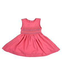 Angel Closet Sleeveless Smocked Pattern Dress - Pink