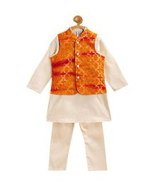 Campana Kurta Jacket And Pajama Set - Orange Golden
