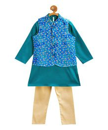 Campana Kurta Jacket And Pajama Set - Green