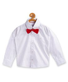 Campana Full Sleeves Printed Party Wear Shirt With Bow Tie - White