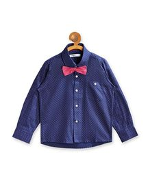 Campana Full Sleeves Printed Party Wear Shirt With Bow Tie - Navy