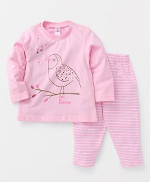 Zero Full Sleeves Bird Print Top & Striped Lounge Pant - Pink