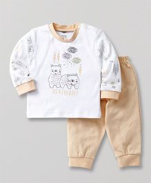 Zero Full Sleeves T-Shirt & Lounge Pant Bear Print - Light Orange & White