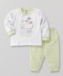 Zero Full Sleeves T-Shirt & Lounge Pant Bear Print - Light Green & White