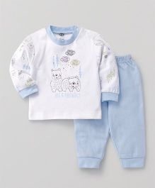 Zero Full Sleeves T-Shirt & Lounge Pant Bear Print - Sky Blue & White