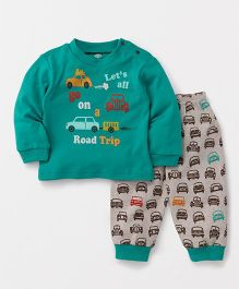 Zero Full Sleeves T-Shirt & Lounge Pant Car Print - Green