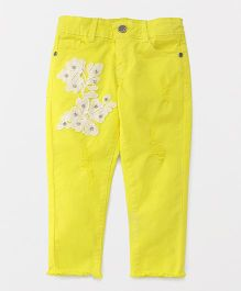 Button Noses Full Length Jeans Floral Patch - Yellow