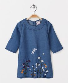 Button Noses Full Sleeves Denim Frock Floral Embroidery - Blue