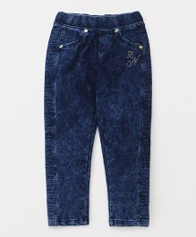 Button Noses Full Length Denim Jeggings - Blue