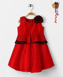 Pspeaches Peplum Style Dress With Rose Design - Red