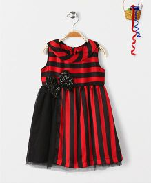 Pspeaches Stripe Design Dress With Sequin Bow - Red