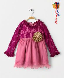 Pspeaches Full Sleeves Lace Design Dress With Shimmery Rose - Pink