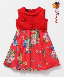 Pspeaches Flower Pleated Dress - Red