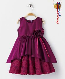 Pspeaches High Low Style Lace Dress With Flower Design - Wine