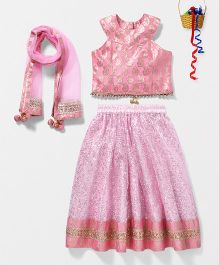 Pspeaches Sequenced Lehenga Choli With Dupatta - Pink