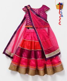Pspeaches Layered Lehenga Choli With Attached Dupatta - Multicolor