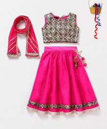 Pspeaches Pearl Lehenga With Gotta Work Choli - Pink