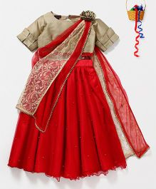 Pspeaches Pearl Lehenga With Choli & Attached Dupatta - Red