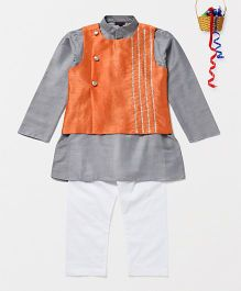 Pspeaches Cotton Silk Kurta Pyjama With Jacket - Grey