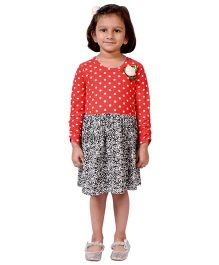 CrayonFlakes Polka Dots With Floral Knit Dress - Red & Black