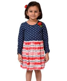 CrayonFlakes Polka With Tie Dye Knit Dress - Navy Blue