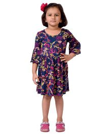 CrayonFlakes Birds Jersey Flounce Sleeved Dress - Indigo