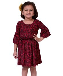 CrayonFlakes Floral Print Jersey Flounce Sleeved Dress - Red & Black
