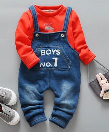 Pre Order - Awabox Boys No 1 Design Dungaree With Inner Tee - Red