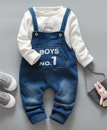 Pre Order - Awabox Boys No 1 Design Dungaree With Inner Tee - White