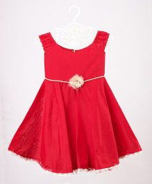 PinkCow Fit & Flare Dress With Pearl Detail - Red