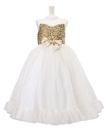 PinkCow Embroidered Bodice Bow Gown - White