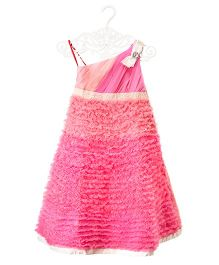 PinkCow One Shoulder Fringe Gown - Pink