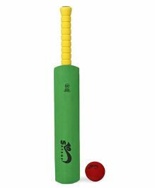 Safsof Cricket Bat And Ball - Green & Dark Red