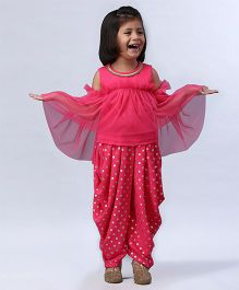 Soul Fairy Frilled Top With Polka Dot Dhoti - Pink