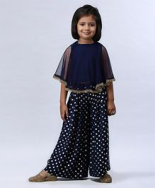 Soul Fairy Cape Style Top With Palazzo - Navy
