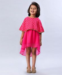 Soul Fairy Cape Style High Low Dress - Fuschia