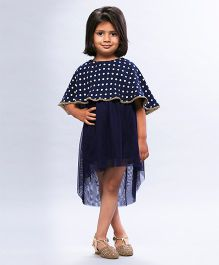 Soul Fairy Georgette Cape Style Dress - Navy