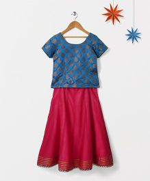 Silverthread Chanderi Lehenga With Gota Work With Contrast Brocade Choli - Blue & Pink