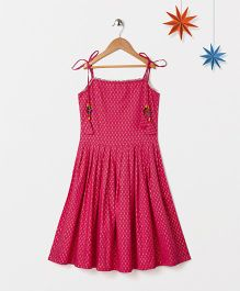 Silverthread Printed Beads On Strings Fusion Dress - Fuschia