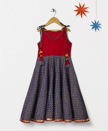 Silverthread Printed Beads On Strings Fusion Dress - Red & Blue