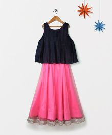 Silverthread Flare Lehenga With Contrast Crinkled Top - Pink & Blue