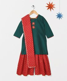 Silverthread Solid Short Kurti With Contrast Khadi Print Sharara - Green & Red