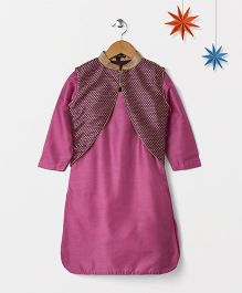Silverthread Solid Kurta With Brocade Short Jacket & Contrast Dhoti Salwar - Purple