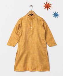 Silverthread Solid Kurta With Self Weave - Beige