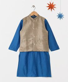 Silverthread Solid Kurta With Contrast Brocade Jacket - Blue & Golden