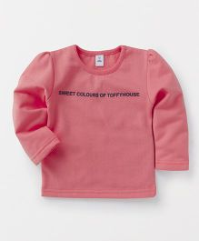 ToffyHouse Full Sleeves Tee Quote Print - Coral