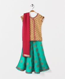 The Little Fashionistas Flared Ghagra With Long Brocade Blouse & Dupatta - Coffee and Turquoise