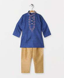 The Little Fashionistas Solid Embriodered Stand Collar Kurta With Salwar -Dark Blue & Beige