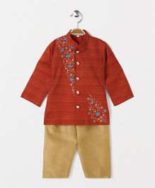 The Little Fashionistas Elegant Embroidered Sherwani With Solid Chudidar -Orange & Beige